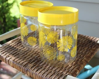 Vintage Glass Corning Containers Yellow Daisy Retro Design