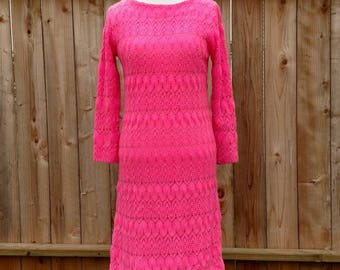 Japanese mod mini, crocheted dress, shift, go go dress, hot pink