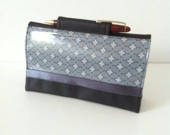 "door-checkbook ""mosaic"" dark grey coated cotton Bril black/grey/white and black leatherette"