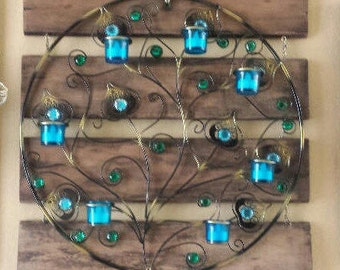 Rustic Country Hanging Candle Holder Circular Wall Sconce Wood and Metal Handcrafted Peacock Inspired