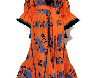 Ukrainian Embroidery Abaya Dresses Bohemian Style Custom Boho Dress Linen Boho Vyshyvanka Dress Vishivanka Chic Nationale Boho Ukraine