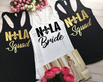 Nola Bride Shirts Nola Squad Bachelorette Shirt, Bachelorette Party Shirts, Bachelorette Party New Orleans, Bachelorette tees, Nola Squad b8