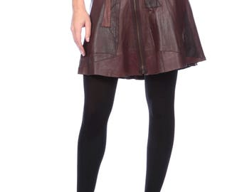 Brown Leather Zips Front Skirt, Leather Mini Skirt Paneled Patchwork in Browns