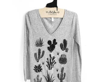 SALE SMALL-  misprint Heather Gray Soft Long sleeve v-Neck top with Cactus Screen Print