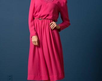 Vintage Fuchsia Pink Laced Yoke Sheer Dress (Size Small/Medium)