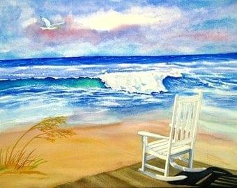Beach seascape watercolor giclee print 8x10, Fine Art Paper, beach art, ocean, rocking chair, seagull, blue sky, summer vacation souvenir