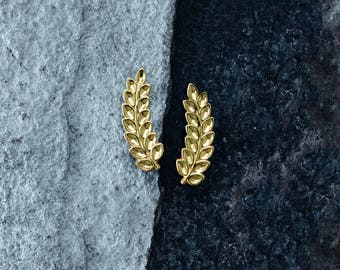 14k Gold Petite Leaf Ear Climbers  - 14k, 18k Yellow, Rose, White Gold & Platinum. Minimal, Bohemian, Woodland Jewelry Design
