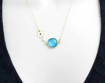 Blue Topaz Necklace, Gold Initial Necklace,14k Gold Filled Necklace,Personalized Necklace,Initial Jewelry,December Birthstone,Stone necklace