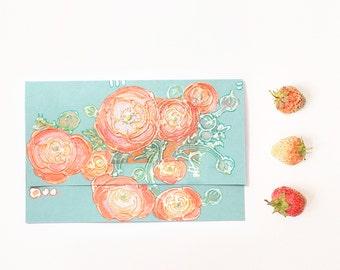 Orange ranunculus on mint green - handmade blank greeting card - art OOAK - light green flowers, silver - floral artwork - original painting