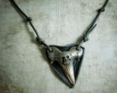 Pirates Shark Tooth Necklace with Skull - Bronze & Leather Necklace