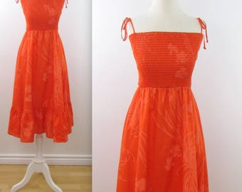 Andrade Hawaiian Sundress - Vintage 1970s Orange Ruffle Summer Dress in Medium