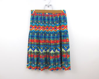 Jeweled Aztec Pleated Skirt - Vintage 1980s Geometric Skirt in Small Medium