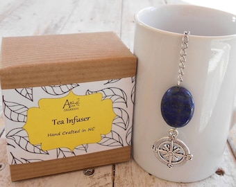 Nautical Tea Infuser, Compass, Find Your Way, Guidance, Direction, Sailor Gift, Lapis Lazuli Stone, Tea Lover, Sailing, Under 10 Dollars