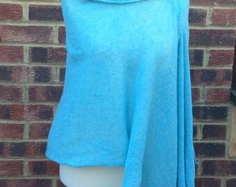 Tiffany Blue Angora  Lace Shawl, Textured blanket shawl wrap, Elegant evening dress  shawl, Mother's Day Gift for grandmother Wife Mom