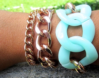 Rose Gold and Mint Green Acrylic Links Chunky Curb Chain Bracelet, Chunky Chain Bracelet Set, Stackable Set, Matching Necklace Available