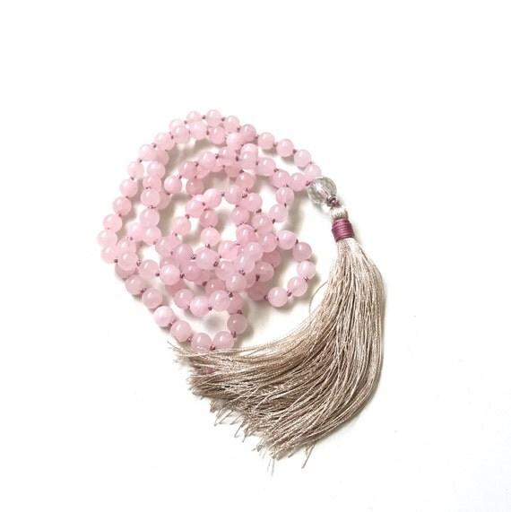 Inner Peace Mala, Rose Quartz and Clear Quartz Mala Necklace, Hand Knotted Light Pink Mala, 108 Bead Mala Meditation Beads, Mala For Love