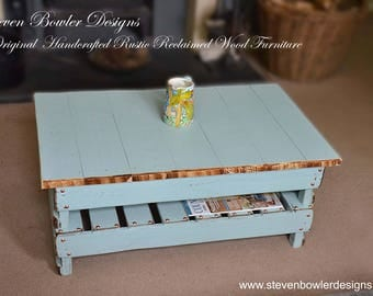 CURRENTLY IN STOCK  Bespoke Country Cottage Duck Egg Blue Rustic Reclaimed Wood Coffee Table with Copper Tacks & Handy Storage Shelf
