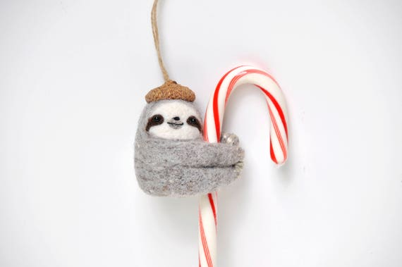 Needle Felted Sloth Christmas Ornament felt sloth ornaments