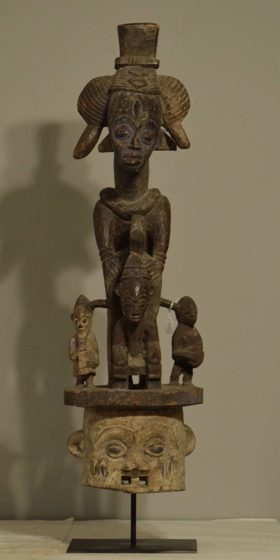 African Headdress helmet Mask Baule Ivory Coast Handmade Figures Family Female Crest Spirit Ritual Baule Headdress