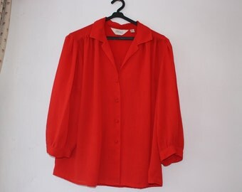 1980s red sheer blouse