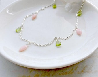 Pink Opal and Peridot Necklace AAA Gemstone Necklace Gifts for Her