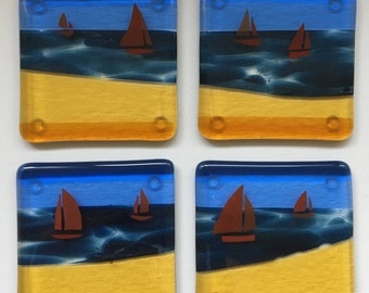 Set of 4 Fused Glass sailing Coasters