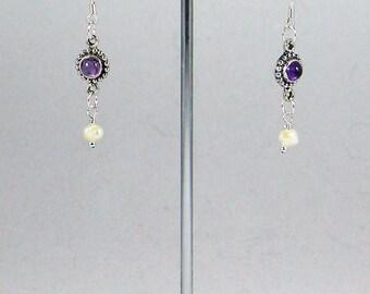 925 Sterling Silver Amethyst and Pearl Drop Earrings