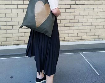 Khaki Heavy Canvas Tote with Vegan Pebbled Leather Heart