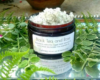 Black Tea and Rose Sugar Scrub - Natural Ingredients - Hand and Body