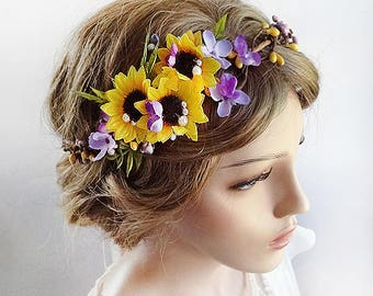 sunflower crown, yellow and purple crown, sunflower headband, sunflower wedding, yellow flower crown, purple flower crown, sunflower hair