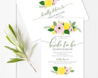 Floral Bridal Shower Invitation Instant Download // Bridal Invitation and Envelope Template // EDITABLE Wedding Shower Invite Printable