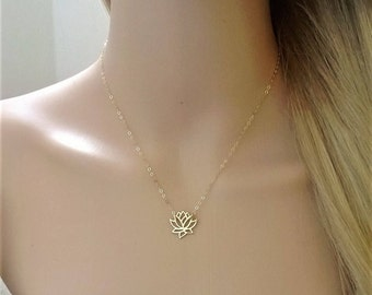 14Kt gold-filled lotus necklace; gold lotus necklace; gold flower necklace