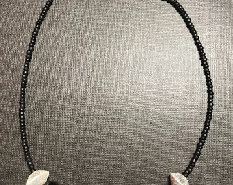 Black Onyx and Coral Disc necklace