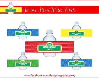 SESAME STREET CUSTOM Water Labels, Digital Labels, Sesame Street Party Supply, Sesame Street Paper Supply, Elmo Party, Sesame Street Sign.