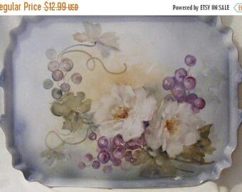 Sizzling Sale Vintage Serving Tray Hand Painted with White Roses and Grapes