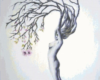 Woman tree Cross Stitch Pattern Pdf embroidery, needlepoint, needlecraft - 220 x 308 stitches - INSTANT Download - B1303