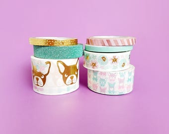 7 Full Rolls of Washi Tape - Frenchies & Gold Foil