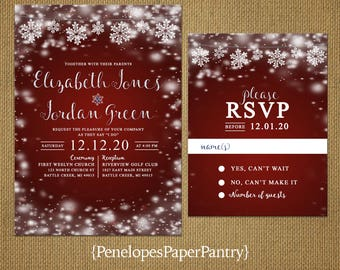 Romantic Rustic Burgundy Winter Wedding Invitation,Snowflakes,Glowing Lights,Shimmery,Rustic,Printed Invitation,Wedding Set,Optional RSVP