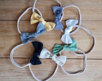 Knot Bow, Small, baby bow, soft, nylon, headband, clip, infant, toddler