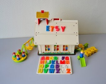 FISHER PRICE Play Family School / Vintage Fisher Price toys 70s / Toy with all accessories