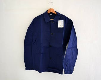 "Vintage Indigo French Work Jacket / chore jacket Sanfor ""BEAUDEUX INDUSTRIE"" made in France / size 48"