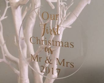 Acyrlic Christmas Bauble, Mr and Mrs First Christmas Bauble, Christmas Tree Decoration