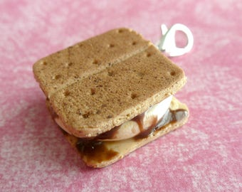 S'mores Charm Camping Gifts Miniature Food Jewelry Polymer Clay S'mores