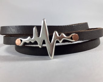 Heartbeat, gift for her, leather, leather bracelets, Nurse gift ideas, nurse gift, Wrap bracelet, wrap, Joanna Gaines, leather wrap bracelet