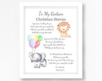 Gift for Godson, Christening Gift, Naming Ceremony Gift, Naming Day Poem, Personalised Baptism Gift, Non Religious Baptism Gift, Goddaughter