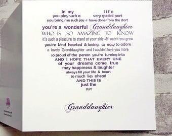 GrandDaughter Card, Birthday Card Grandaughter, Granddaughter Birthday card, Grand Daughter card, Grand Daughter Birthday card