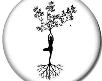Yoga Tree Pin-Back Button - 6 Sizes - Om Namaste Pose Relaxation Meditation Yogi
