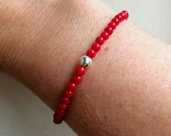 Tiny Red Coral stretch Bracelet Sterling Silver or Gold Fill - Chakra beaded jewellery gift healing