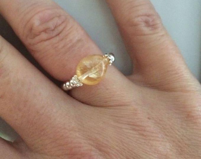 Sterling Silver Citrine stretch ring - November Birthstone jewellery - Chakra  jewelry gift