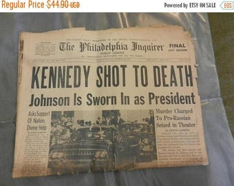 Summer Sale Original November 23rd 1963 Kennedy Shot to Death Newspaper